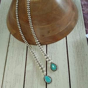 Jewelry - Crotched pearls/hematite turquoise NECKLACE